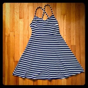 Navy and White Striped Fit and Flare Dress